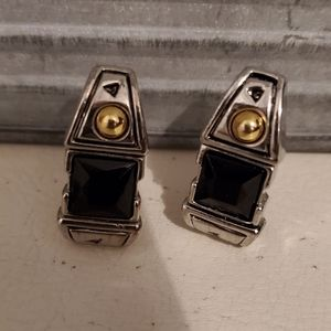 Vintage Black Onyx Silver Plated Earrings